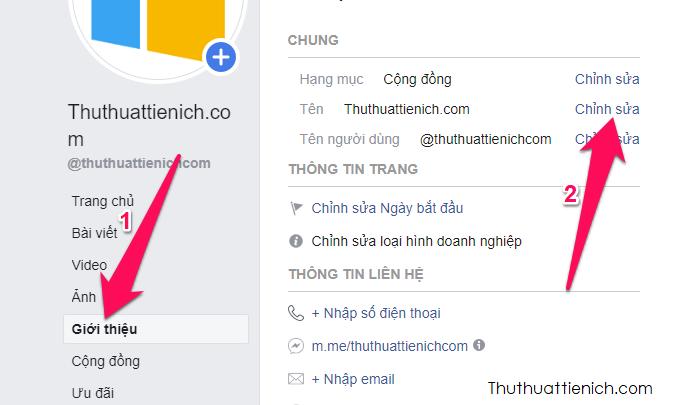 Nhấn vào phần Giới thiệu bên dưới ảnh đại diện của Trang Fanpage → Nhìn sang cửa sổ bên phải nhấn nút Chỉnh sửa trong phần Tên