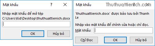 Khi mở các tập tin này sẽ cần nhập mật khẩu để xem hoặc chỉnh sửa