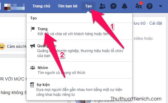 Tại trang Facebook của bạn, nhấn nút Tạo trên menu → Trang