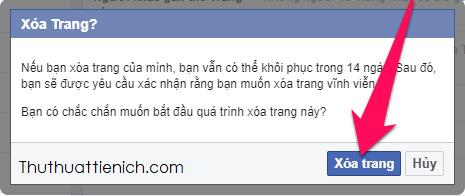 Nhấn nút Xóa Trang