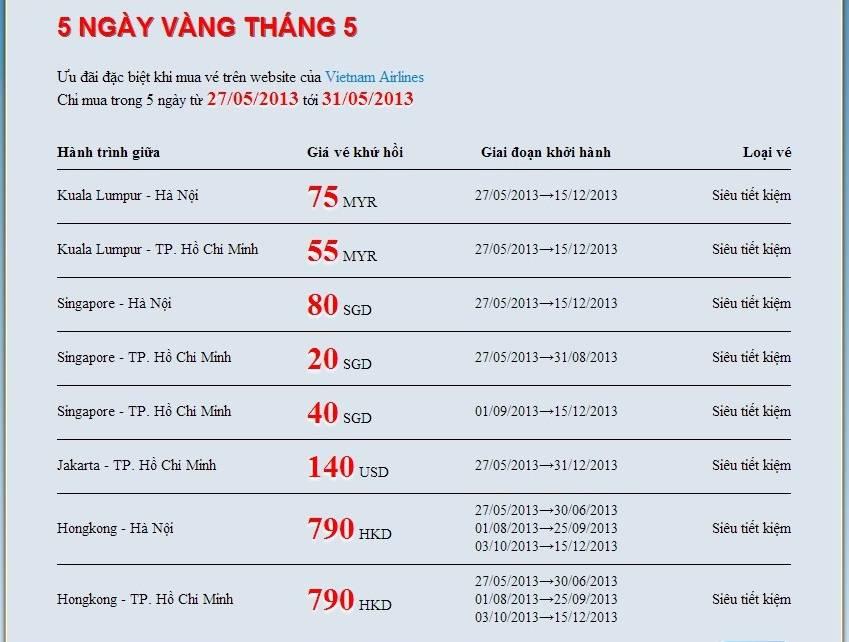 Vé phi cơ khứ hồi siêu rẻ của VietNam Airlines chỉ từ 18USD