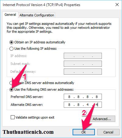 Nhập DNS rồi nhấn nút OK để lưu lại