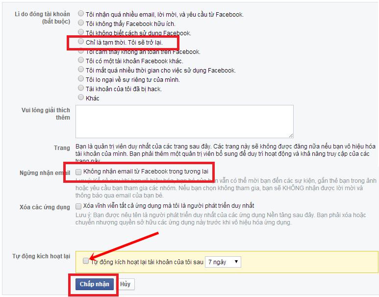 Thiết lập trước khi khóa tài khoản Facebook tạm thời