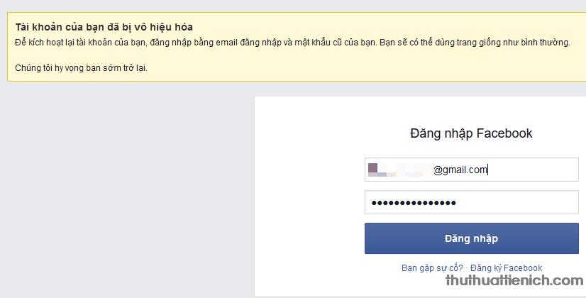 Thông báo đã khóa Facebook thành công