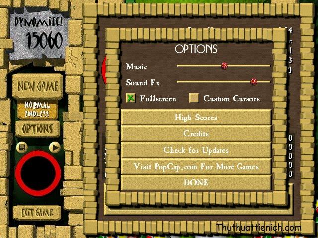 Để chơi game Full màn hình, bạn chọn Options → tích vào phần Fullscreen (hiện dấu x xanh là được) rồi nhấn Done