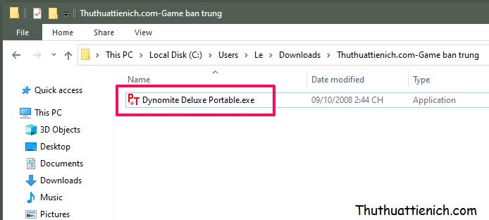 Chạy file Dynomite Deluxe Portable để chơi game