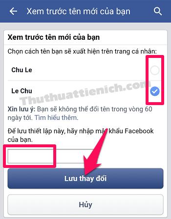 Tích vào hình tròn bên phải tên Facebook bạn ưng ý, nhập mật khẩu rồi nhấn nút Lưu thay đổi