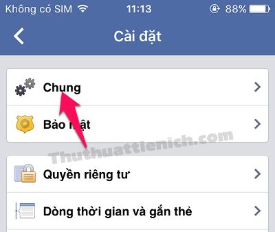 Chọn tùy chọn Chung
