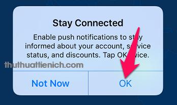 Tùy chọn nhận thông báo của VPN hay không