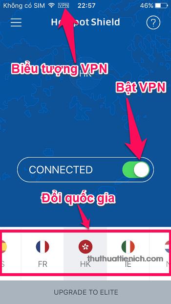Giao diện VPN Hotspot Shield