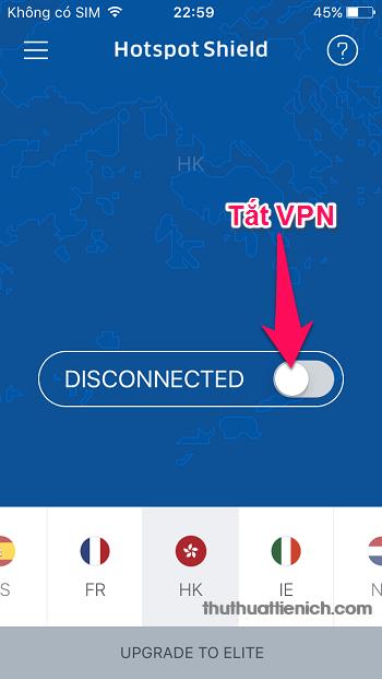 Tắt VPN khi không cần dùng Facebook nữa