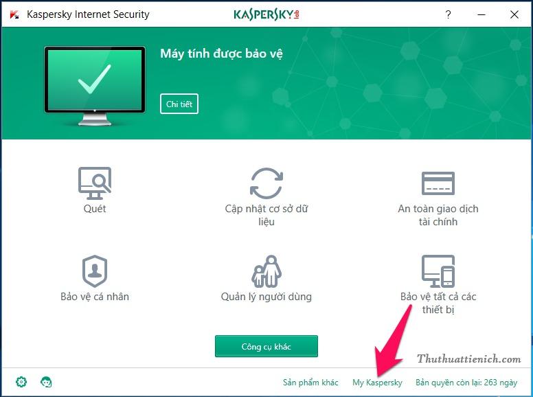 Từ phần mềm Kaspersky, bạn nhấn vào dòng My Kaspersky