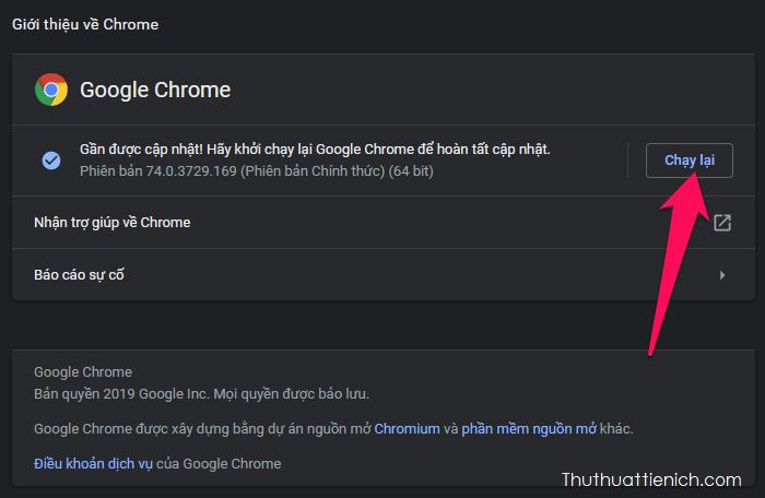 Sau khi quá trình cập nhật được chạy xong, bạn cần khởi động lại trình duyệt web Google Chrome để hoàn tất
