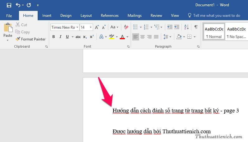 Nhấn chuột vào vị trí đầu trang (phía trước ký tự đầu tiên của trang)