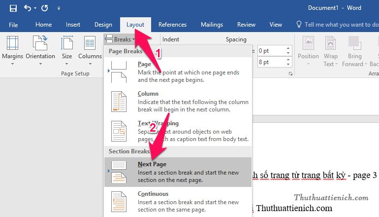 Nhấn nút Layout trên thanh công cụ, chọn Next Page