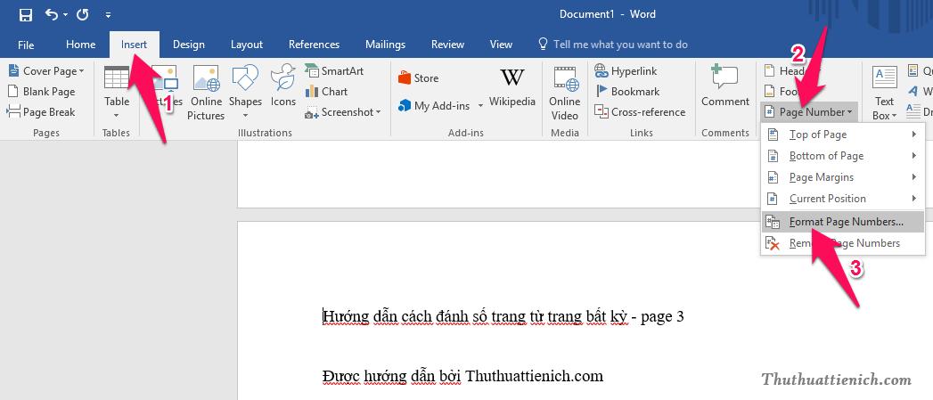 Tiếp tục nhấn nút Insert trên thanh công cụ chọn Page Numder -> Format Page Numbers...