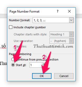Chọn kiểu định dạng bạn muốn sử dụng để đánh số trong phần Number Format