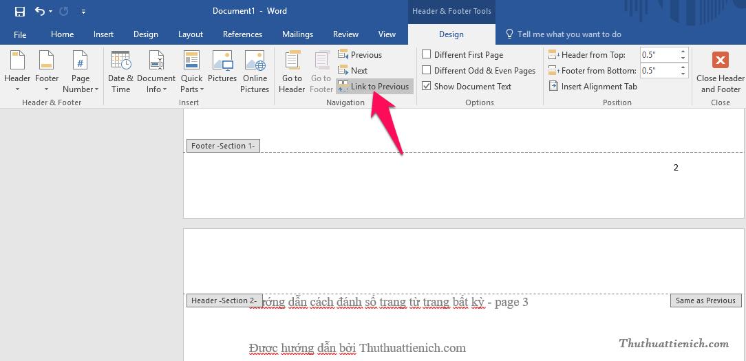 Nhấn chuột vào đầu trang (Header) của Section 2 (chính là trang bạn muốn bắt đầu đánh số từ đó). Sau đó nhấn nút Link to Previous trên thanh công cụ