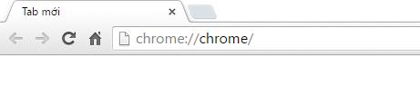 Nhập lệnh chrome://chrome/ lên thanh địa chỉ của trình duyệt