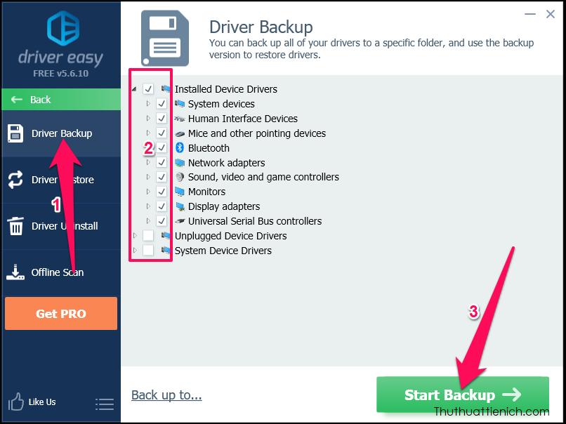 Chọn Driver backup, nhấn nút Back up to... để thay đổi thư mục lưu file backup driver, sau đó tích chọn những driver bạn muốn sao lưu rồi nhấn nút Start Backup