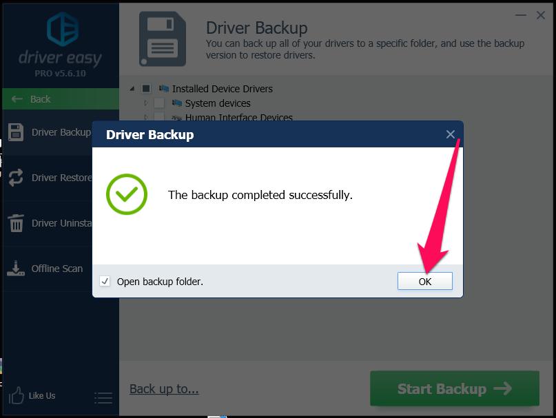 Hiện thông báo: The backup completed successfully là bạn đã sao lưu driver thành công rồi đó
