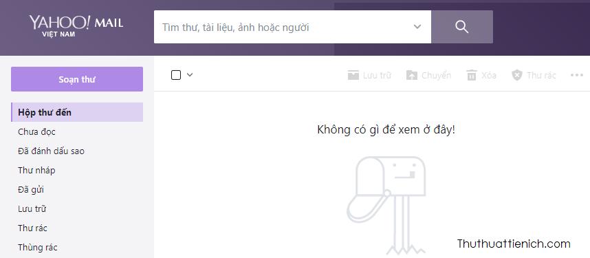 Giao diện Yahoo mail