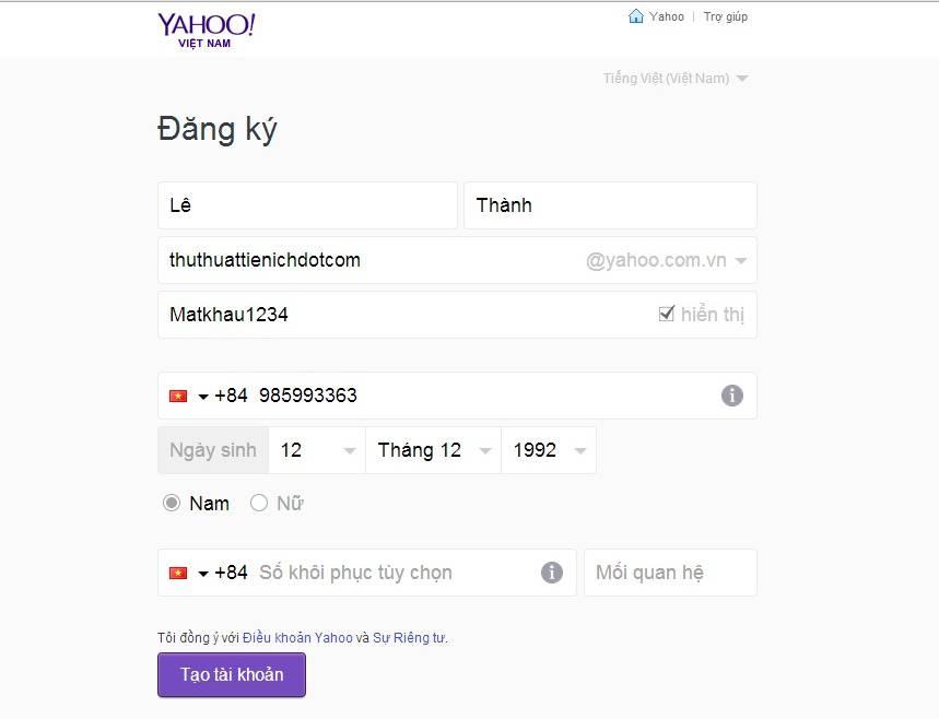 Nhập Form đăng ký Yahoo rồi nhấn nút Tạo tài khoản