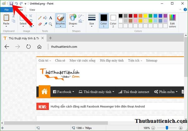 Nhấn nút Save hoặc Ctrl + S để lưu lại ảnh chụp màn hình