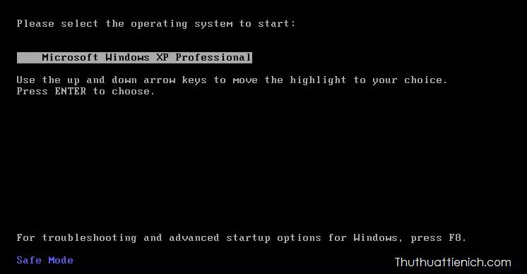 Chọn hệ điều hành để bắt đầu rồi nhấn phím Enter, thường chỉ có một lựa chọn
