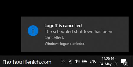 Windows sẽ thông báo bạn đã hủy lệnh thành công