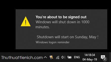Windows sẽ thông báo thời gian tắt máy tính đã được lên lịch sau xxx phút, có giờ, ngày, tháng, cụ thể