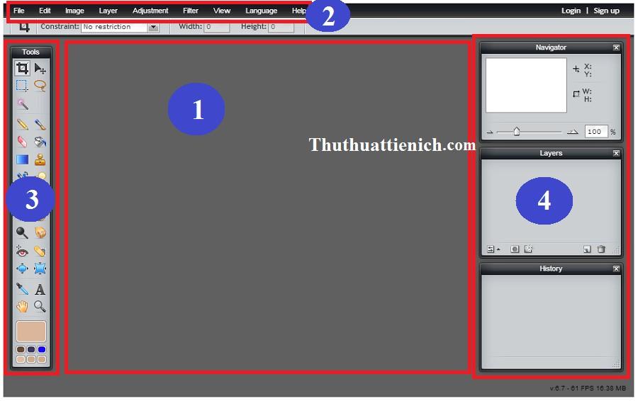 Giao diện chính của Photoshop Online