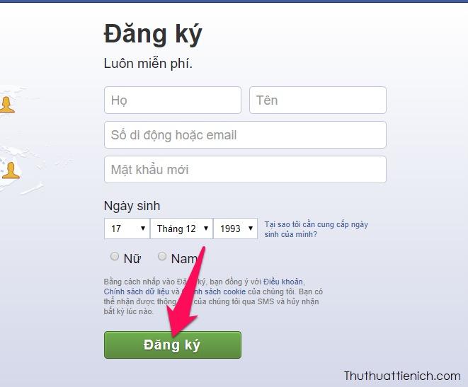 Nhập các thông tin Facebook yêu cầu vào Form đăng ký