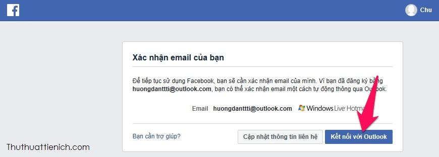 Nhấn nút Kết nối với email (Gmail hoặc Outlook) sau đó đăng nhập tài khoản email của bạn là xác minh tài khoản Facebook xong
