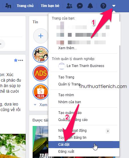 Nhấn mũi tên xổ xuống góc trên cùng bên phải cửa sổ Facebook chọn Cài đặt