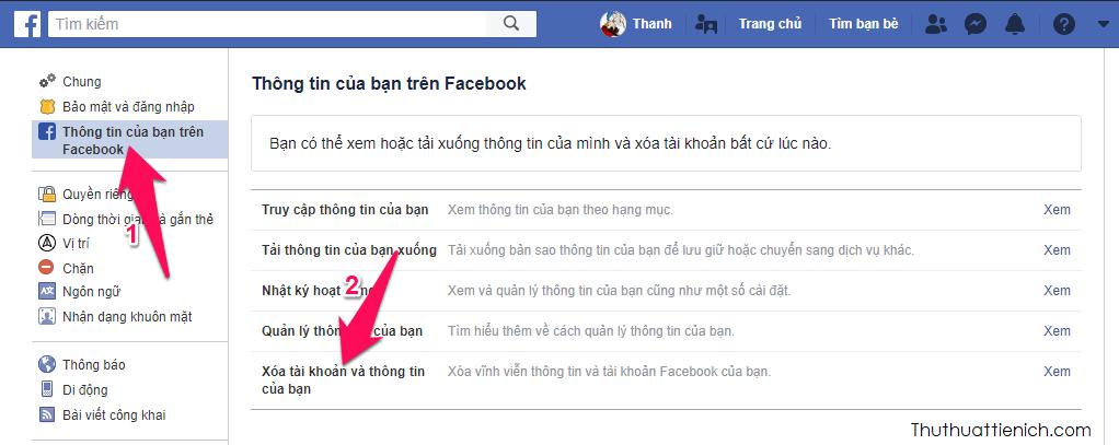 Nhấn chọn phần Thông tin của bạn trên Facebook trong menu bên trái sau đó nhìn sang cửa sổ bên phải chọn Xóa tài khoản và thông tin của bạn