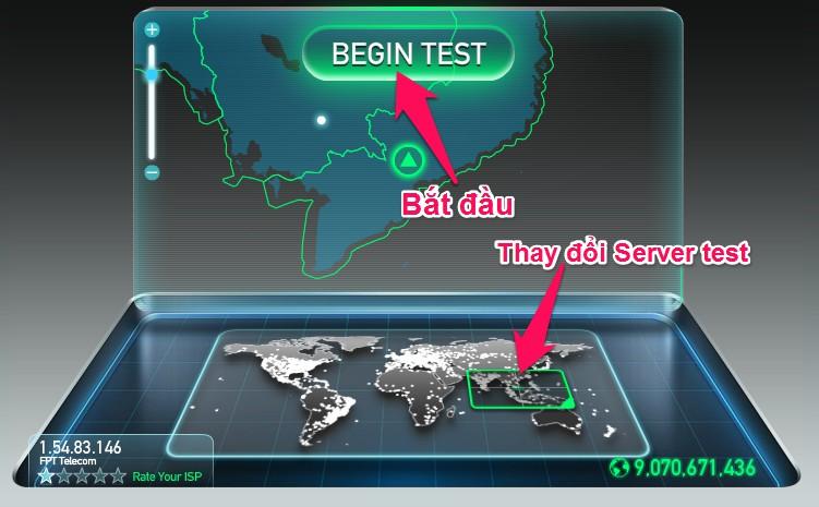 Nhấn vào nút Begin Test để bắt đầu kiểm tra