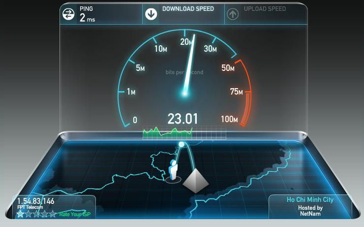 Speedtest sẽ kiểm tra lần lượt tốc độ download và tốc độ upload