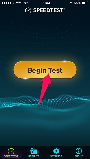 Mở ứng dụng Speedtest vừa cài đặt, nhấn nút Begin Test