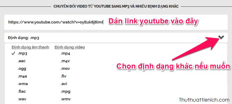 Dán link youtube vào khung Dán đường dẫn vào đây, chọn định dạng audio khác nếu muốn