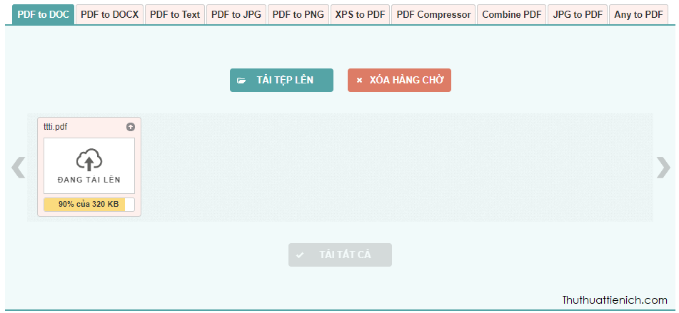 Chờ chút để tệp PDF tải lên và chuyển đổi sang Word