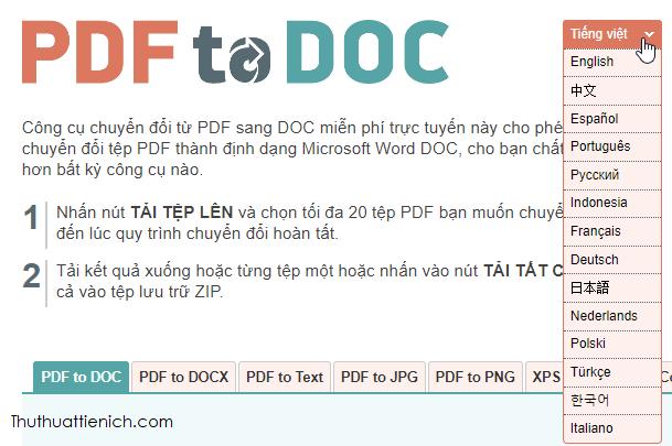 Chọn ngôn ngữ pdf2doc
