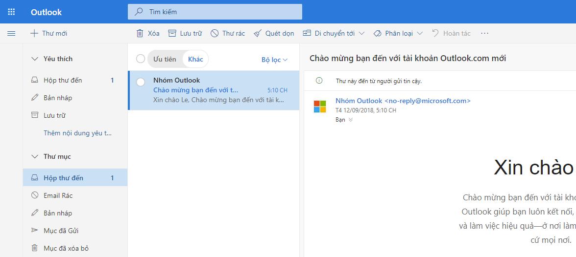 Còn đây là giao diện hòm thư Outlook của bạn