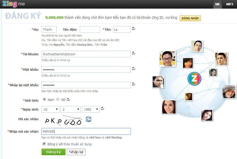 Đăng ký Zing me | chỉ dẫn đăng ký tài khoản Zing me nhanh