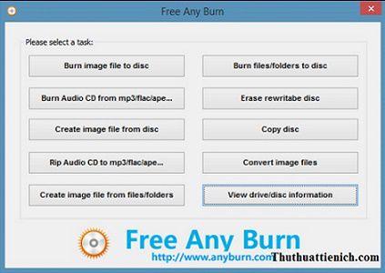Phần mềm ghi đĩa miễn phí Any Burn