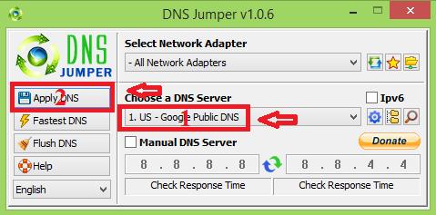 Đổi DNS vào Facebook bị chặn với phần mềm DNS Jumper