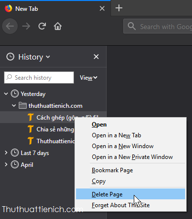 Xóa lịch sử duyệt web riêng lẻ, theo ngày, tháng