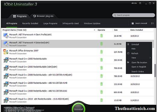 Phần mềm gỡ bỏ ứng dụng IObit Uninstaller