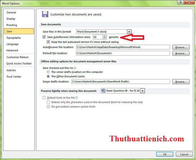 Thay đổi thời gian tự động lưu trong phần Save AutoRecover information every