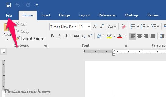 Chọn File trên thanh công cụ